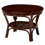 ローテーブル/丸型テーブル 木製(籐/マホガニー) 幅56cm アジアンテイスト ブラウン  の画像