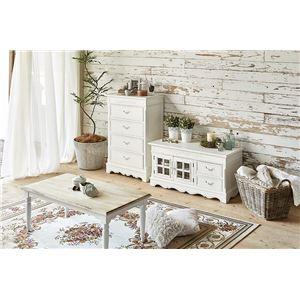 センターテーブル/ローテーブル 【楕円形】 幅90cm 『ブロカントシリーズ』 木製 シャビーシック ホワイト(白)  h02