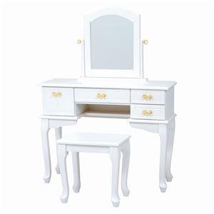 ドレッサーセット(化粧台・スツールセット)猫足木製鏡/リボン取っ手付きホワイト(白)