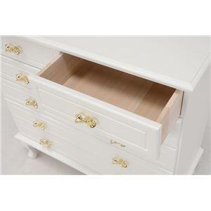 猫足リビングチェスト/収納棚 【5段】 幅63cm リボン取っ手付き 木製 姫系 ホワイト(白)  h02