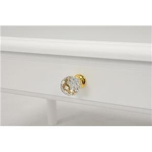 シンプルセンターテーブル/ローテーブル 【幅90cm】 木製 クリスタル調取っ手/引き出し付き ホワイト(白)