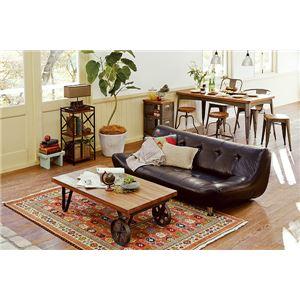 センターテーブル/ローテーブル 【幅110cm】 木製×スチールパイプ 『リベルタシリーズ』 車輪型キャスタータイプ  - 拡大画像