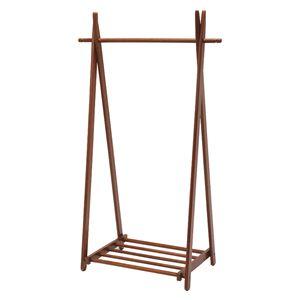 折りたたみハンガーラック/衣類収納 【幅90cm/ダークブラウン】 木製 収納棚付き