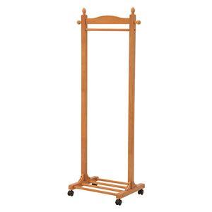 木製ハンガーラック/衣類収納 【幅60cm/ナチュラル】 収納棚/キャスター付き  - 拡大画像
