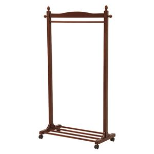 木製ハンガーラック/衣類収納【幅90cm/ブラウン】収納棚/キャスター付き