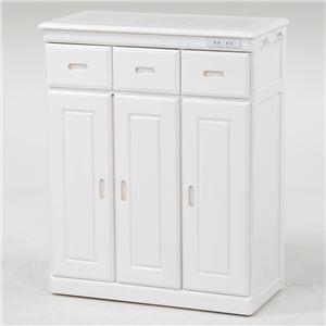 キッチンカウンター/キッチン収納【幅72cm/ホワイト】木製タイル天板二口コンセント/キャスター付き
