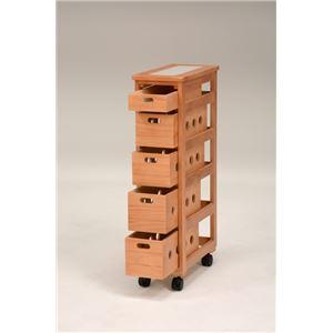 ストッカー(キッチンワゴン/キッチン収納) 幅20cm スリム 木製 キャスター付き タイル天板(ナチュラル)