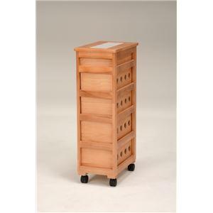 ストッカー(キッチンワゴン/キッチン収納) 幅25cm スリム 木製 キャスター付き タイル天板(ナチュラル)