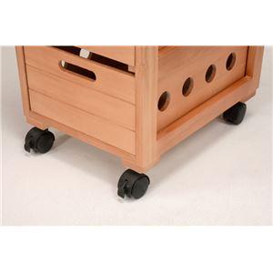 ストッカー(キッチンワゴン/キッチン収納) 幅30cm スリム 木製 キャスター付き タイル天板(ナチュラル)