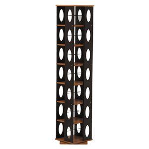 タワー型回転ラック/本棚 【幅34cm×奥行34cm×高さ167cm】 スリム 大容量 ブラウン  - 拡大画像