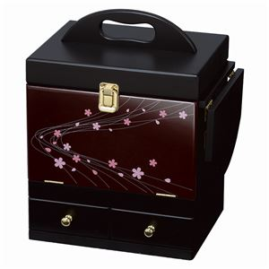 蒔絵調コスメボックス/メイクボックス 【えんじ】 幅26cm 持ち手/ミニテーブル/三面鏡付き