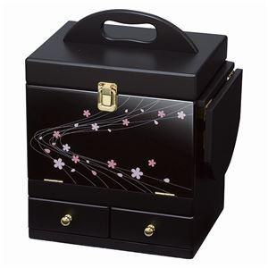 蒔絵調コスメボックス/メイクボックス 【ブラック】 幅26cm 持ち手/ミニテーブル/三面鏡付き