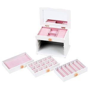 大容量ジュエリーボックス(宝石箱) 4段収納 幅26cm 木製 コンパクト ホワイト(白)