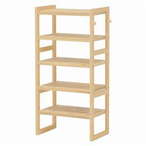 シンプルシューズラック/下駄箱 【幅45cm×高さ92cm】 ナチュラル 木製/パイン 高さ調節可 フック2個付き