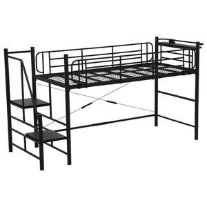 階段式ロフトベッド 【ロータイプ】 二口コンセント/宮付き スチールパイプ ブラック(黒)