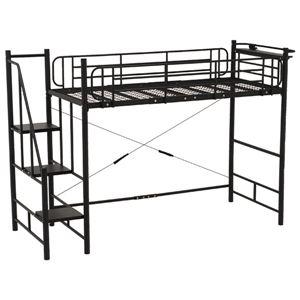 階段式ロフトベッド 【ハイタイプ】 二口コンセント/宮付き スチールパイプ ブラック(黒) の写真1