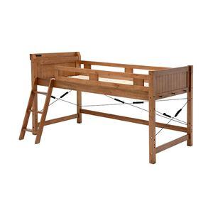 ロフトベッド/すのこベッド 【シングルサイズ】 ミドルタイプ ブラウン 木製 二口コンセント/梯子/宮付き
