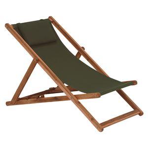 リラックスチェア/アウトドアチェア 【折りたたみ式/グリーン】 木製 背部:3段階角度調整可 枕付き