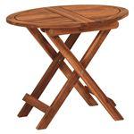 木製ガーデンテーブル/アウトドアテーブル 【楕円形/幅55cm】 折りたたみ式 木目調