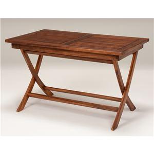 木製ガーデンテーブル/アウトドアテーブル 【長方形/幅120cm】 折りたたみ式 チーク材使用 パラソル穴付き 木目調