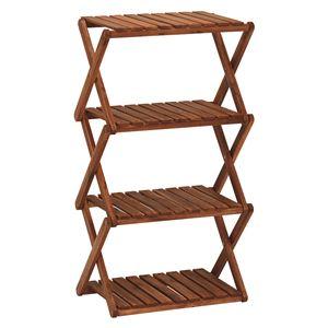 木製ラック/ディスプレイラック 【4段/高さ84.5cm】 折りたたみ可 アカシア材使用 木目調
