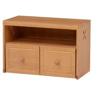 ベンチチェスト(ベンチチェア/収納家具) 幅60cm 木製 収納棚/キャスター付き引き出し  - 拡大画像