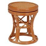 回転スツール(籐椅子/丸椅子) 木製 直径24cm×高さ37cm  の画像
