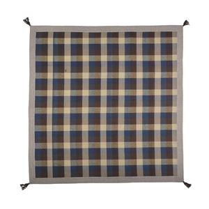 インド綿ウール混ボンディングラグ メルモ 130cm×185cm ブルー