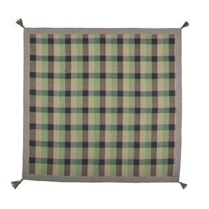 インド綿ウール混ボンディングラグ メルモ 130cm×185cm グリーン