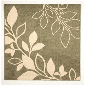 花粉ウイルス対策 ラグマット/絨毯 【185cm×185cm グリーン】 正方形 日本製 折りたたみ 防ダニ 抗菌 防臭 通年 『アルブル』