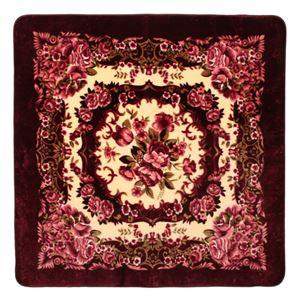 花柄 ラグマット/絨毯 【185cm×185cm ワインレッド】 正方形 ホットカーペット 床暖房対応 『リオ3』
