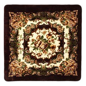 花柄 ラグマット/絨毯 【185cm×185cm ブラウン】 正方形 ホットカーペット 床暖房対応 『リオ3』
