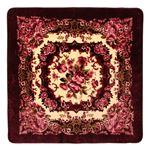 花柄 ラグマット/絨毯 【200cm×250cm ワインレッド】 長方形 ホットカーペット 床暖房対応 『リオ3』
