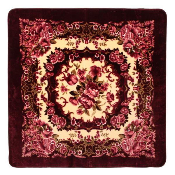 花柄 ラグマット/絨毯 【200cm×300cm ワインレッド】 長方形 ホットカーペット 床暖房対応 『リオ3』