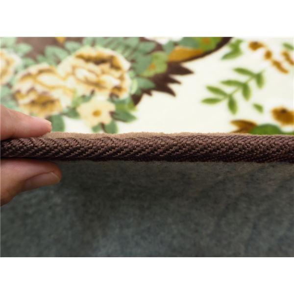 花柄 ラグマット/絨毯 【230cm×230cm ブラウン】 長方形 ホットカーペット 床暖房対応 『リオ3』