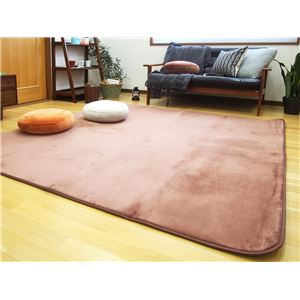 低反発 ラグマット/絨毯 【190cm×240cm ブラウン】 長方形 撥水 防滑 ホットカーペット 床暖房対応 『マシュマロ』