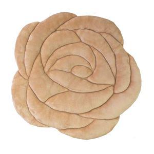 バラ型 シートクッション 【ベージュ】 45cm×45cm フランネル生地 アンティーク調小花柄 『ローズ』 〔リビング〕