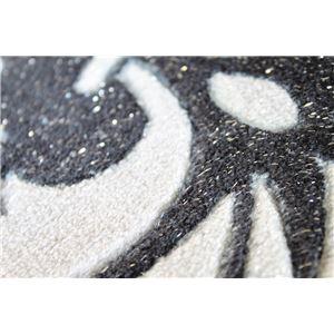 ラメ入り 玄関マット/フロアマット 【45cm×75cm ブラック】 長方形 洗える 防キズ タフトプリント 『ダマスク』