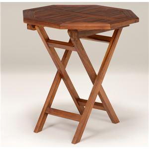 木製ガーデンテーブル/アウトドアテーブル 【八角形/幅70cm】 折りたたみ式 チーク材使用 木目調