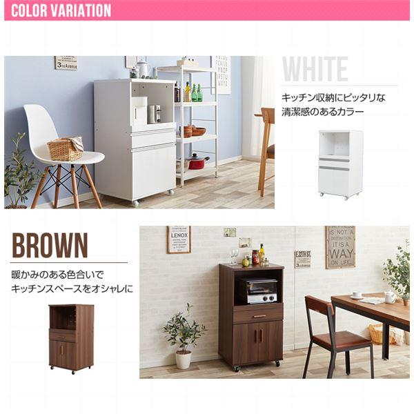 キャスター付きレンジ台(キッチン収納/キッチンボード) 幅54cm ブラウン スライド棚/引き出し収納付きは2色展開