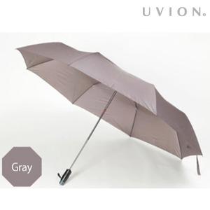 【UVION】 安全式自動開閉 折りたたみ傘 大判69cmPUネジ式 グレー