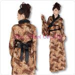 【ドレス】ロング着物ドレス【大きいサイズ】 [SUN175] 豹柄・M/Lサイズ 1点