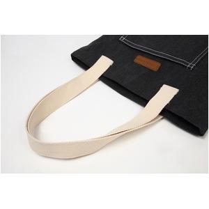 デニム生地トートバッグ♪レッスンバッグ ポケット付き メンズ レディース ブラック T-00100620