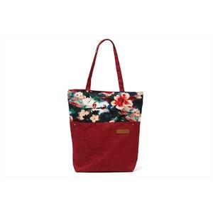 花柄の切替がかわいい♪A4対応キャンバストートバッグ!オリエンタル柄 ローズレッド T-00102866