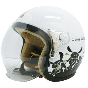 ダムトラックス(DAMMTRAX) ジェットヘルメット CARINA P.WHITE-RABBIT レディースフリー(57〜58cm)