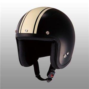 JUQUE(ジュクー) FC022 ストライプジェットヘルメット ブラック/アイボリー L - 拡大画像
