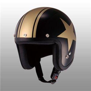 JUQUE(ジュクー) FC024 スタージェットヘルメット ブラック/ゴールド M - 拡大画像