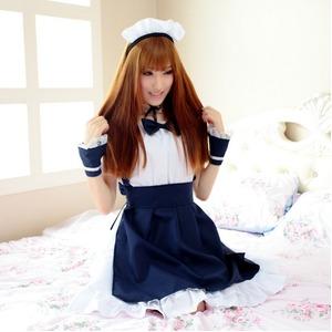 【メイド 】紺色 メイド服 コスプレ衣装/408