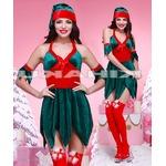 【クリスマス】緑 鈴たっぷり クリスマスツリー サンタ衣装/9478