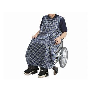 特殊衣料 食事前掛(超撥水) 車椅子用 /1050 リーフ(ブルー) - 拡大画像